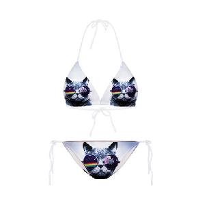 Дамски бански костюм триизмерен с котка с очила