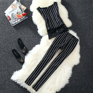 Дамски раиран комплект потник и панталони