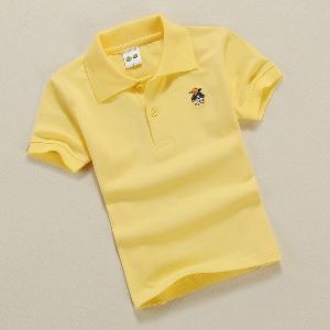 Детски памучни тениски с яка в седем топли цвята.