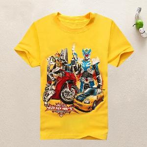 Детски тениски за момчета   в пет цвята с забавен принт.