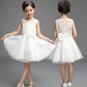 Детска официални рокля с дантела бяла и розова