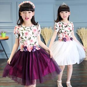 Детски рокли за момичета с флорални мотива два цвята ,два модела-с къси и дълги ръкави.