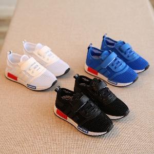 Детски пролетни обувки за момчета-дишащи в бял, син и черен цвят.