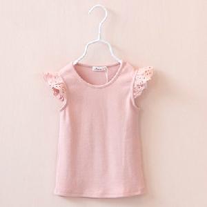 Детски тениски за момичета с дантелени ръкави-5 цвята.