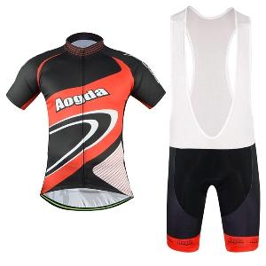 Мъжки спортен екип за велосипедисти с къси ръкав - черно с червено