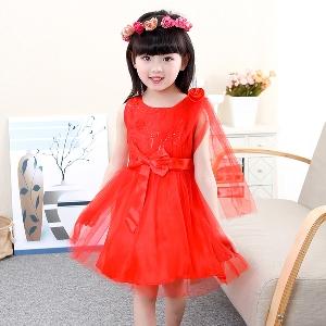 Детски шифонени рокли с панделка за момичета в розов,червен и лилав цвят