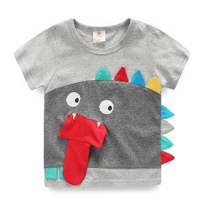 Детска тениска в сив цвят за момчета - динозавър