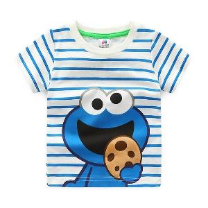 Детска тениска за момчета на райета - Cookie Monster