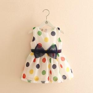 Детска бяла рокля с цветни точки и панделка - 1 модел
