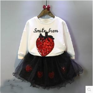 Детски пролетен комплект за момичета -блузка и Туту пола с апликация \'ягода\'.