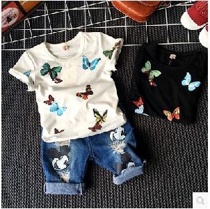 Детски бели и черни тениски за момичета с пеперуди.