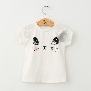 Детски комплект за момичета от 2 части - сива пола и бяла тениска с коте
