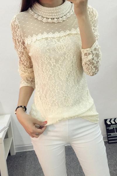7caa8cc2d67 Дамска дантелена блуза с перли - Badu.bg - Светът в ръцете ти