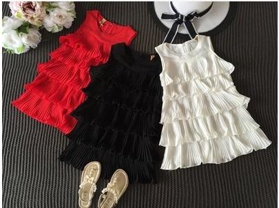 65519a5d3cc3 Παιδικά σιφόν φορέματα για μικρές πριγκίπισσες -Λευκό, μαύρο και κόκκινο. -  Badu.gr Ο κόσμος στα χέρια σου