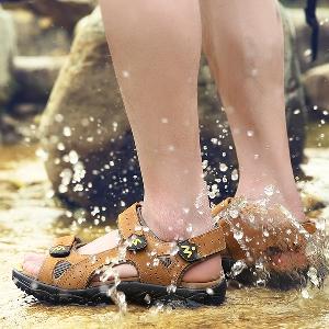 Дишащи летни мъжки сандали от изкуствена кожа - 2 модела