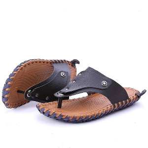 Мъжки плажни сандали от изкуствена кожа и микрофибърно покритие - бели, черни и кафяви топ модели