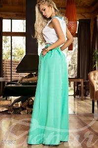 Зелена дълга пола