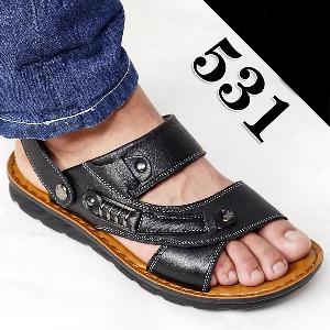 Мъжки кожени сандали в кафяви и черни цветове