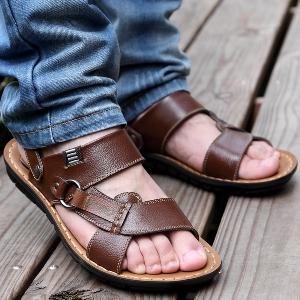 Мъжки кожени сандали с удобна подметка в кафяв и черен цвят
