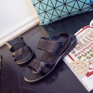 Мъжки сандали от изкуствена кожа в черен и кафяв цвят - подходящи за ежедневие