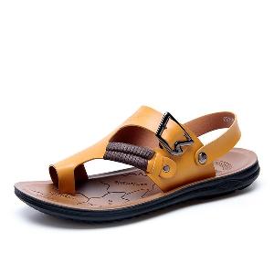 Мъжки сандали от изкуствена кожа в син,жълт,бял,черен,кафяв и червен цвят