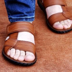 Мъжки летни плажни сандали - бели, сини и кафяви