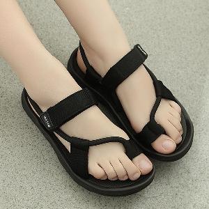 Мъжки черни плажни отворени сандали с ретро дизайн