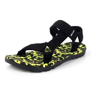 Мъжки летни сандали от отворен тип с камуфлажни подметки с различни цветове: розов, жълт, син - за плаж и ежедневие