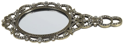 Ръчно метално огледало // Inart