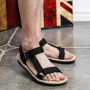 Мъжки плажни и ежедневни летни сандали от отворен тип - три модела: бели, черни и червени с лепки