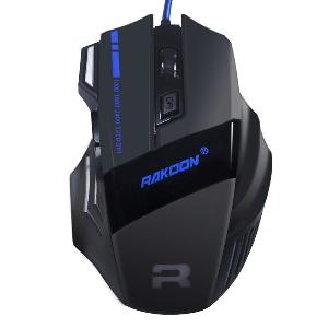 USB Геймърска мишка в черен цвят - с 7 бутона и  ергономичен дизайн - 3200 DPI