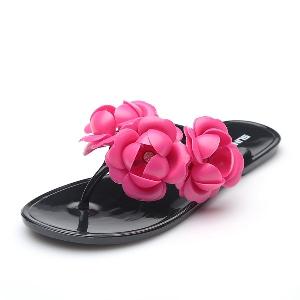 Γυναικείες παντόφλες για την παραλία και την καθημερινή ζωή με διακοσμητικά λουλούδια - μπλε, ροζ, μαύρο, πράσινο και άλλα καλοκ