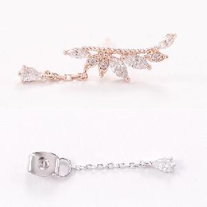 Дамски елегантни сребърни обеци - златист,сребрист и розов цвят