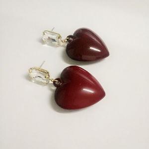 Дамски червени обеци - сърца