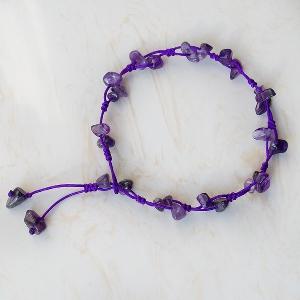 Дамски гривни за глезен - невероятен дизайн с лилав цвят и мъниста