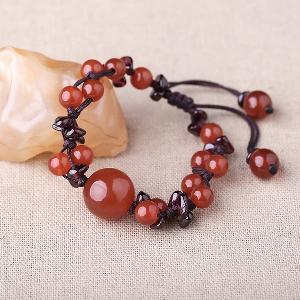 Дамски гривни с етнически мъниста в виненочервен цвят - 15см, 16см, 17см, 18см, 19см, 20см