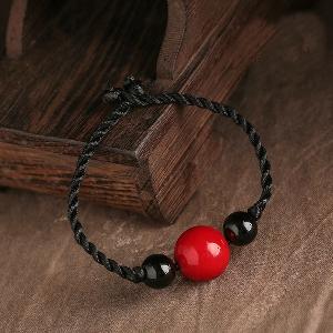 Дамски кожени гривни с етнически мъниста - две черни и едно червено топче