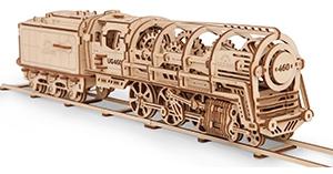 3D механичен пъзел Ugears локомотив с тендер