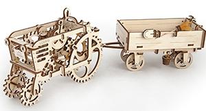 3D механичен пъзел Ugears трактор с ремарке
