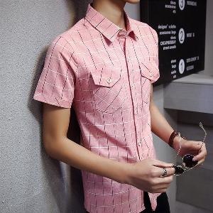 Ανδρικά πουκάμισα του καλοκαιριού με κοντά μανίκια λευκό f768bcb3fb2