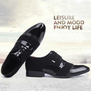 Черни мъжки обувки изработени от изкуствена кожа подходящи за сватба