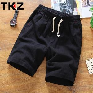 Мъжки плажни и ежедневни ленени къси панталони - еластични, черни и бели, сини и зелени