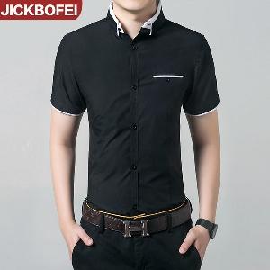 Καλοκαιρινά ανδρικά πουκάμισα - μαύρο και άσπρο με υλικό από πολυεστέρα και  βαμβάκι 32cf7a7f734