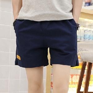 Мъжки къси плажни памучни шорти - черни, сиви, бели