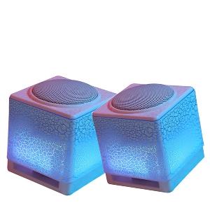 Мини светещи USB тонколони сини лилави и леки с размер на опаковката 17.5*9.8*9.2 см