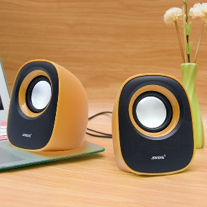 Колонки за компютър, лилави, жълти, черни мощност - 3(x2) W, Шум до 85 децибела, честота - 150 HZ - 20 khz