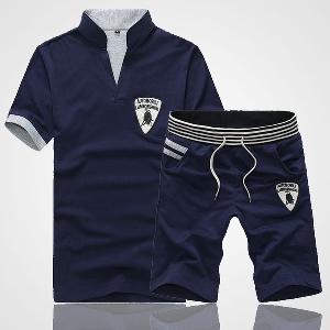 Мъжки ежедневни летни спортни екипи, комплект къс ръкав и къси панталони: Черен, Сив, Зелен, Червен, Син