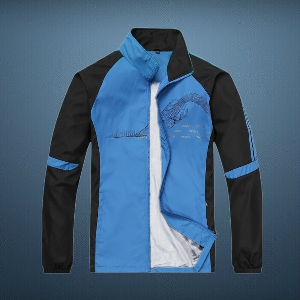 Мъжки тънки спортни джогинг якета: два модела сини и сиви пролет и есен полиестър