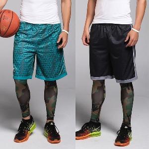 Летни мъжки спортни баскетболни шорти в син зелен и черен цвят