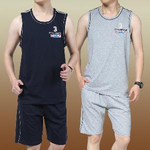 Летни памучни мъжки комплекти - потник и шорти   4 модела